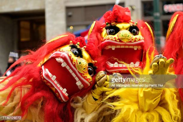 two northern lions at chinatown parade - chinatown stock pictures, royalty-free photos & images
