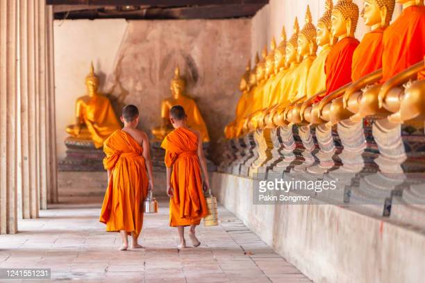 two novices walking return and talking in old temple - cultures stock pictures, royalty-free photos & images