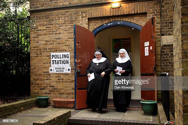 Two Nuns from Tyburn Convent leave a polling station at St Johns Parish Church after casting their vote on May 6, 2010 in London, United Kingdom....