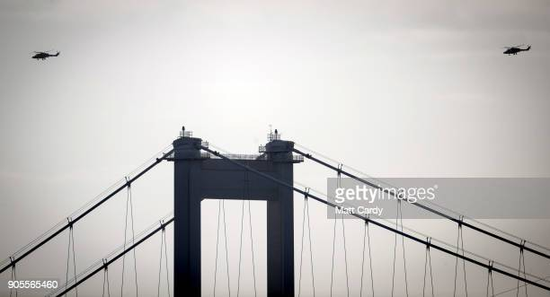 Two of four helicopters from the Army Air Corps' last remaining Lynx Mk9 helicopters from 657 Squadron pass the Severn Bridge on January 16 2018 in...