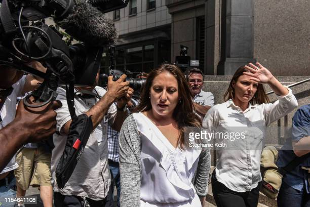Two of Jeffrey Epstein's alleged victims Michelle Licata and Courtney Wild exit the courthouse after a hearing about the billionaire financier on...