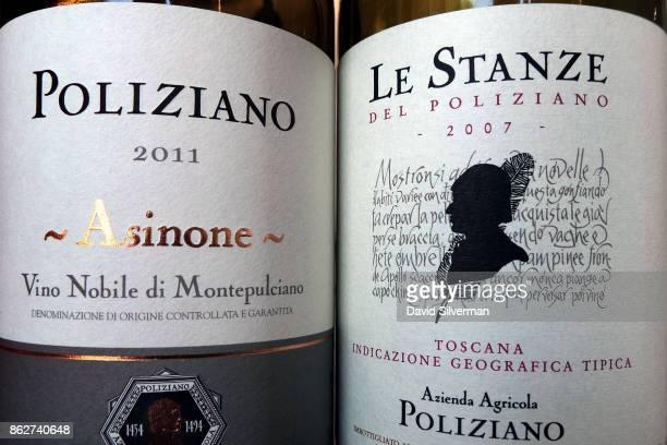Two of Poliziano's wines a Sangiovese grape Vino Nobile di Montepulciano selezione 'Asinone' 2011 at left and Le Stanze del Poliziano 2007 a blend of...