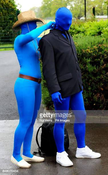 Two of the 145 people wearing Morphsuits at Drayton Manor Theme Park Tamworth where they gathered to beat last year's figure 112 people gathered in...