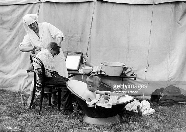 Two Of The 4000 Basque Refugee Children At Stoneham Camp In Eastleigh Near Southampton Great Britain Taking A Bath And Getting Their Hair Cut On May...