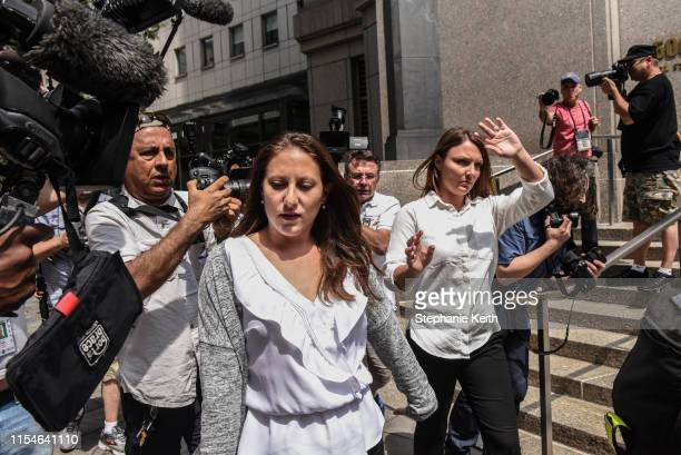 Two of the alleged victims Michelle Licata and Courtney Wild exit the courthouse after a hearing about billionaire financier Jeffery Epstein on July...