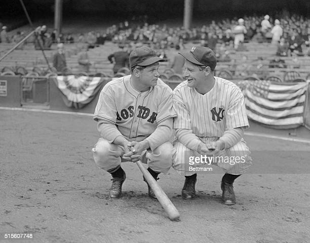 Two of the American League's home run hitters, Jimmy Foxx, left, of the Boston Red Sox, and Lou Gehrig, of the New York Yankees, met for the first...
