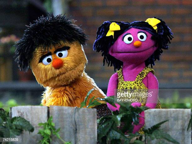 Two of the four new characters of Jalan Sesama the Indonesian version of Sesame Street Momon and Putri are pictured during a ceremony in Jakarta 22...