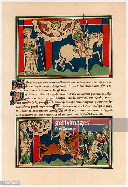 Two of the Horsemen of the Apocalypse early 14th century Illustration from Illuminated Manuscripts in the British Museum Miniatures Borders and...