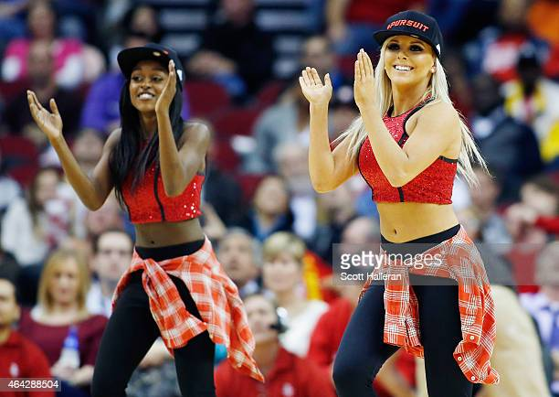 Two of the Houston Rockets Power Dancers perform during their game against the Minnesota Timberwolves at the Toyota Center on February 23 2015 in...