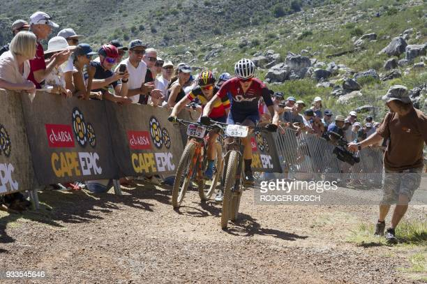 Two of the professional women riders take part in the prologue stage which marks the start of the 2018 Cape Epic African Mountain Bike Race in Cape...