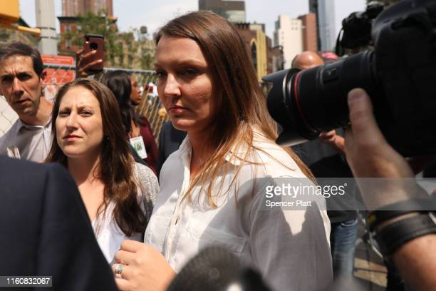 Two of the purported victims of multimillionaire Jeffrey Epstein Michelle Licata and Courtney Wild leave a Manhattan court house after a hearing on...