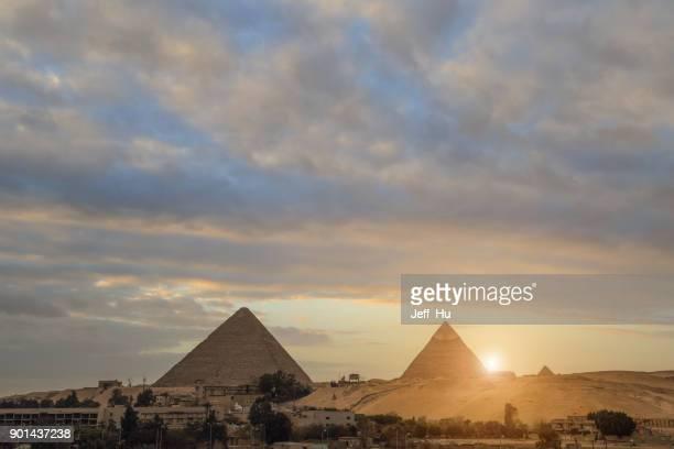 two of the pyramids  in cairo, egypt - antico egitto foto e immagini stock