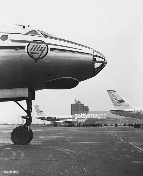 Two of the three Soviet Tupolev Tu104 jet airliners which have recently arrived at London Airport UK 25th April 1956 They have recently entered...