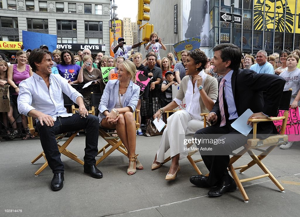 AMERICA - Two of the world's most famous movie stars, Tom Cruise and Cameron Diaz, invade Times Square for an appearance on GOOD MORNING AMERICA, 6/22/10 airing on the ABC Television Network. GM10 (Photo by Ida Mae Astute/ABC via Getty Images) TOM