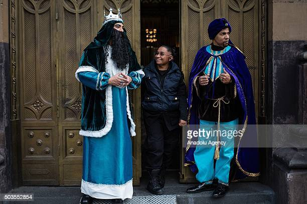 Two of three Magi stand out the Postal Palace in Mexico City Mexico on January 5 2016 According to tradition on the night of 5 and in the morning of...