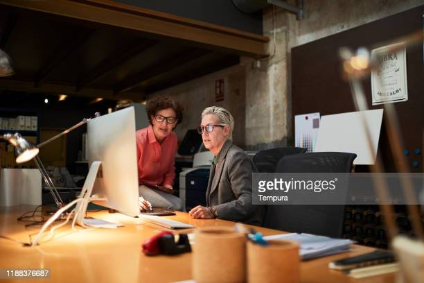 two office workers conducting a meeting in front of a computer. - small office stock pictures, royalty-free photos & images