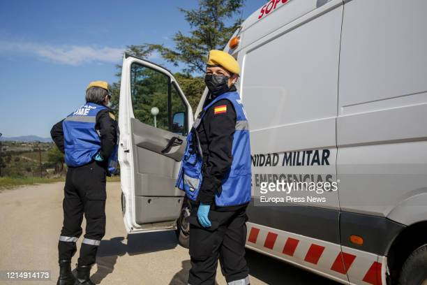 Two officers are seen while disinfecting the nursing home San Carlos del Bosque at the town of Villaviciosa de Odon, one of the hundreds of nursing...