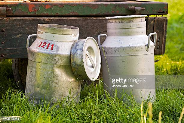 Two old fashion milk churns