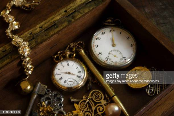 two old pocket watches inside a box. still life. - antique stock pictures, royalty-free photos & images
