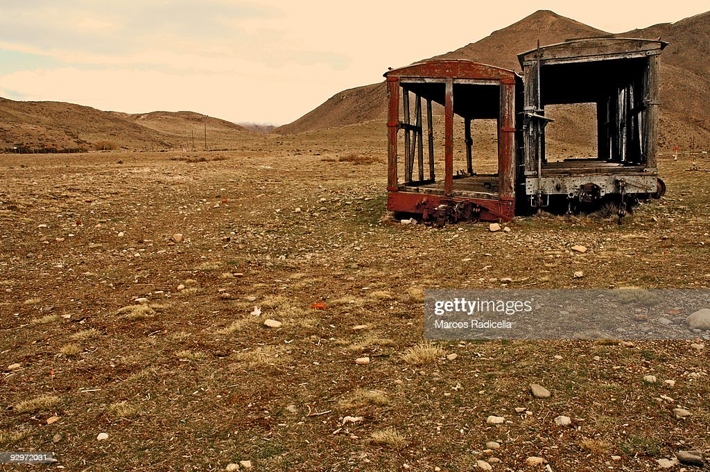 Two old train wagons in Patagonia : Stock Photo