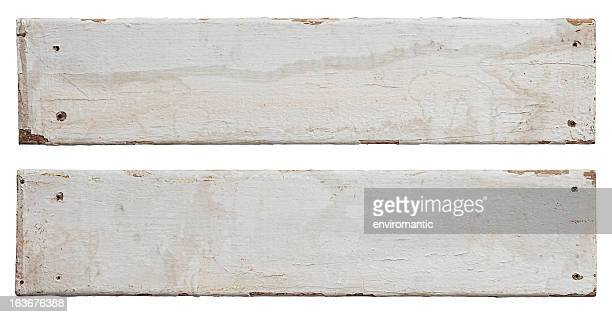 Two old white weathered wood boards.