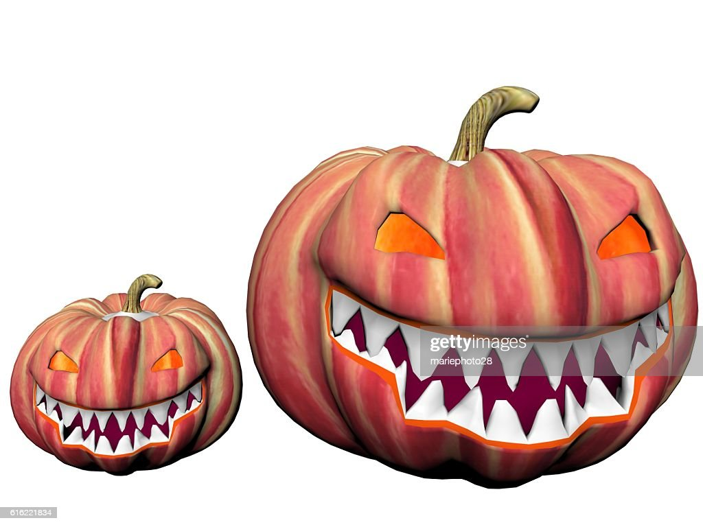 two orange pumpkins - 3d render : Stock Photo