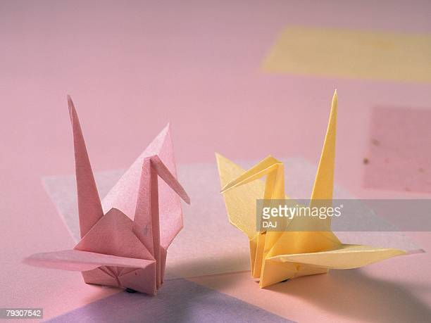 Two origami cranes, Close Up, High Angle View