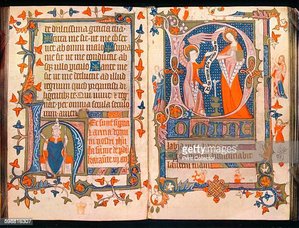 Two pages from A Book of Hours circa 1350 From The Connoisseur Volume 102 [The Connoisseur Ltd London 1938] Artist Unknown