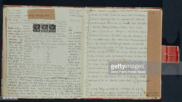 Two pages from the diary of Anne Frank written during her years in hiding during World War II circa 1942