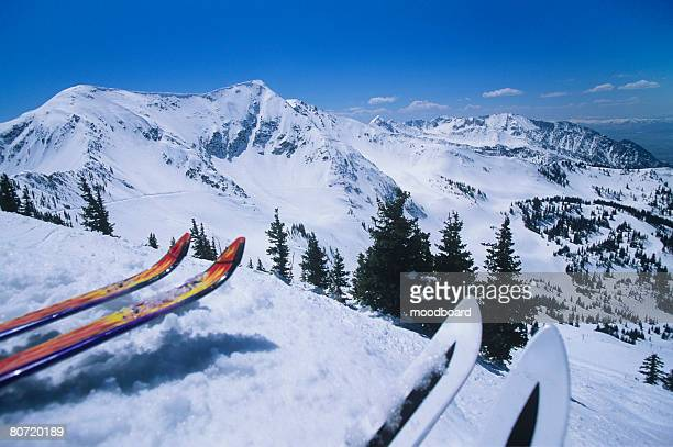 Two Pairs of Skis Overlooking Snowy Mountain Range