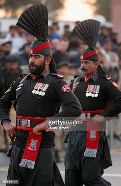 Two Pakistan Rangers parade on December 6 2005 in Wagah Pakistan England players today visited the border crossing with India were at sundown the...
