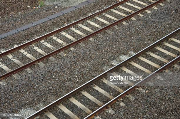 two parallel railroad tracks - parallel stock pictures, royalty-free photos & images