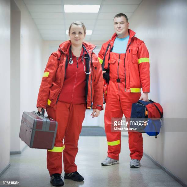two paramedics at work - rescue worker stock pictures, royalty-free photos & images