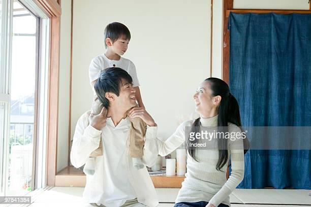Two parents and son(4-5) portrait