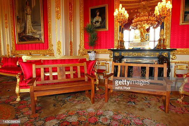 Two park benches wait in the Scarlet Drawing Room before being presented to Queen Elizabeth II by the Royal Engineers Association to mark her Diamond...