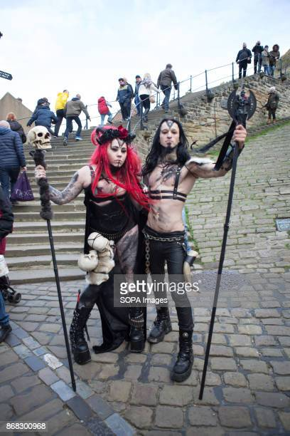 Two participants dressed up in crossplay outfit seen at the festival The Whitby Goth Weekend alternative music festival began in 1994 and takes place...