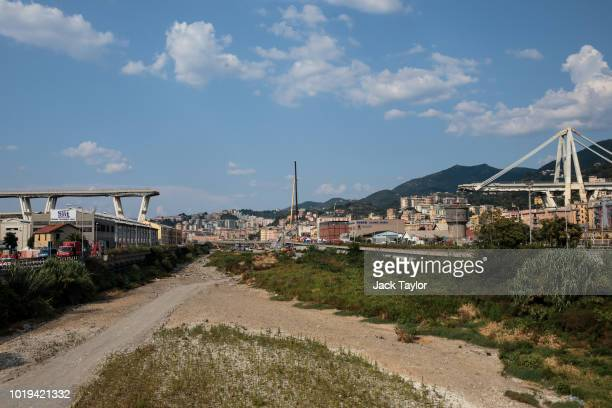 Two parts of the Morandi bridge stretch out days after a section of it collapsed on August 19 2018 in Genoa Italy 43 people were killed after a large...