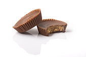 Two Peanut Butter Cups with bite
