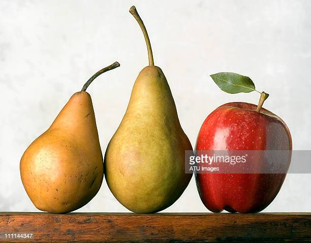 two pears and apple