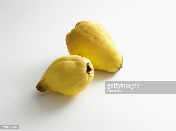 Two pear-shaped quinces on a white surface