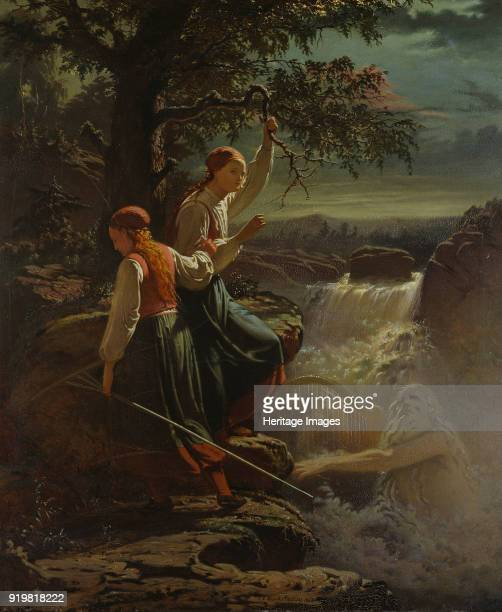 Two Peasant Girls listening to the Playing of the Water Sprite 1860 Found in the collection of Nationalmuseum Stockholm