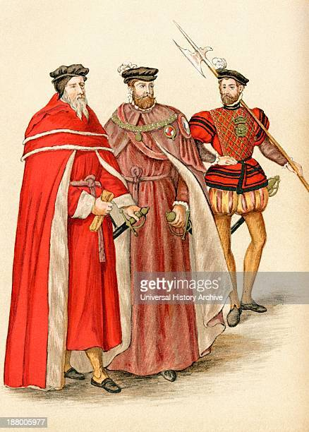 Two Peers In Their Robes And A Halberdier During The Elizabethan Era From The Book Short History Of The English People By JR Green Published London...