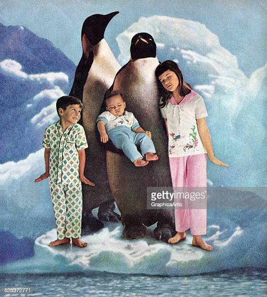 Two penguins on an ice floe with their three human children wearing pajamas screen print from a photograph 1950s