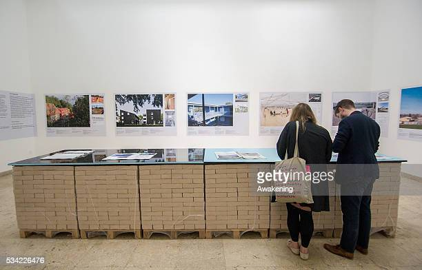 two people attend at the German Pavillion of the 15th Architecture Venice Biennale on May 25 2016 in Venice Italy The 15th International Architecture...
