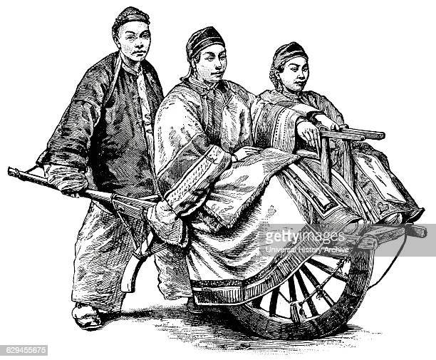 Two People Being Transported by SingleWheel Cart China 'Classical Portfolio of Primitive Carriers' by Marshall M Kirman World Railway Publ Co...