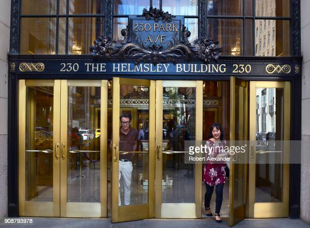 Two people exit The Helmsley Building on Park Avenue in New York City The Midtown Manhattan skyscraper was built in 1929 when it was known as the New...