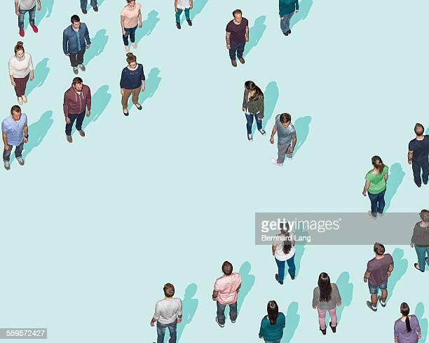 two people facing off, aerial view - mid adult men fotografías e imágenes de stock