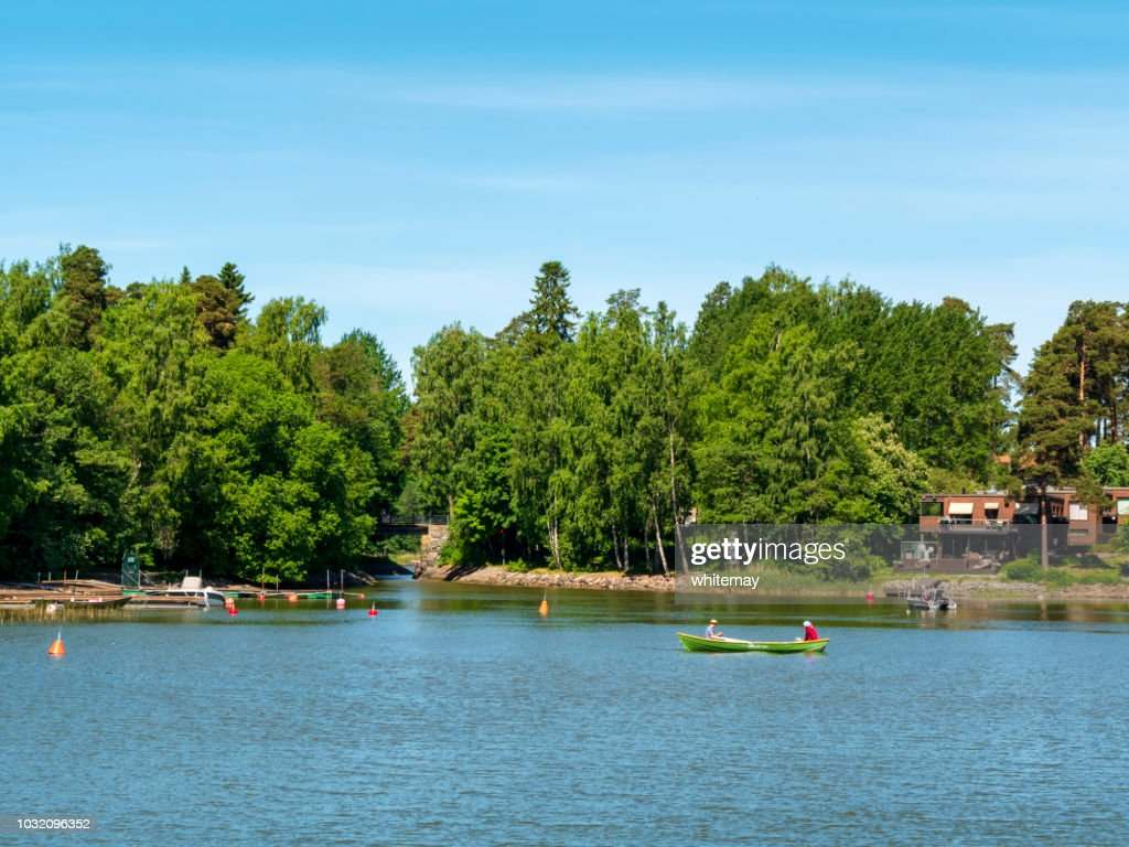 Two people fishing in the Suomenlinna Islands : Stock Photo