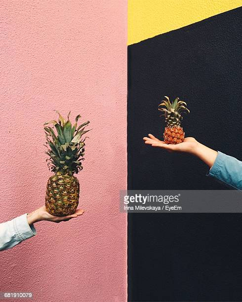 Two People Holding Pineapples Against Multi Colored Wall