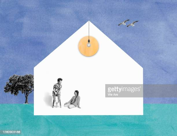 two people in house - simple living stock pictures, royalty-free photos & images